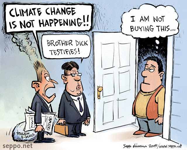 Global warming sceptics - door-to-door peddlers