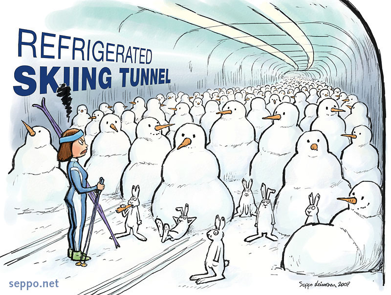 Snow men in the artificial skiing tube