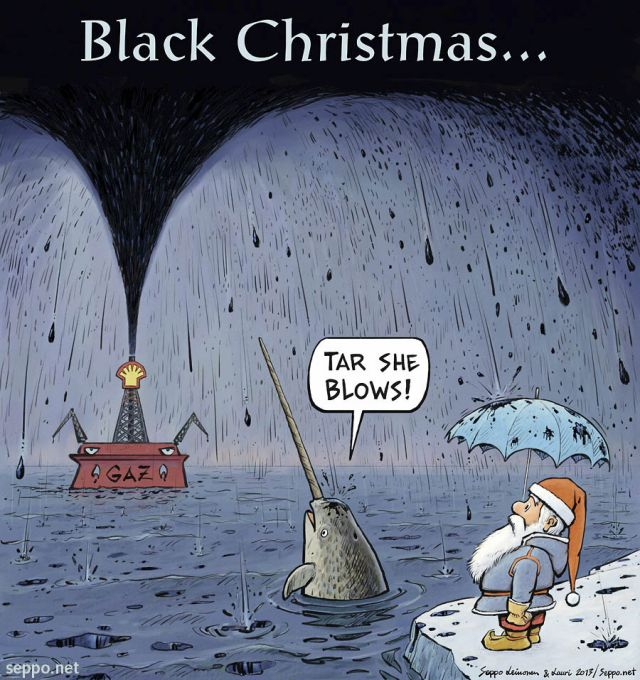 Santa and Arctic oil and Black Christmas