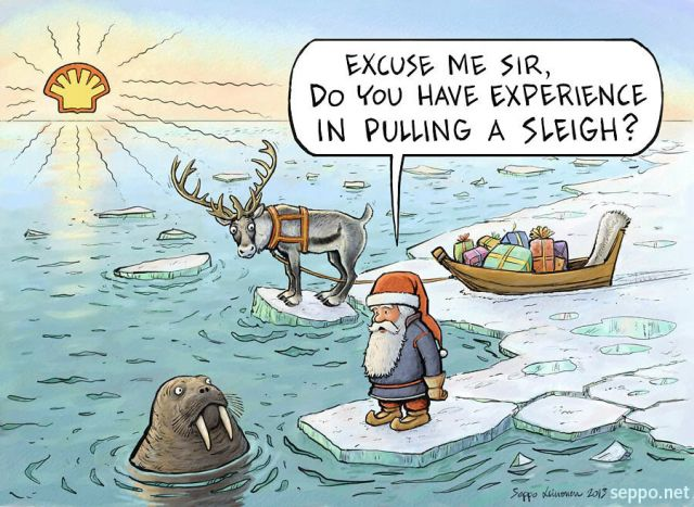 Santa and melting Arctic Ice