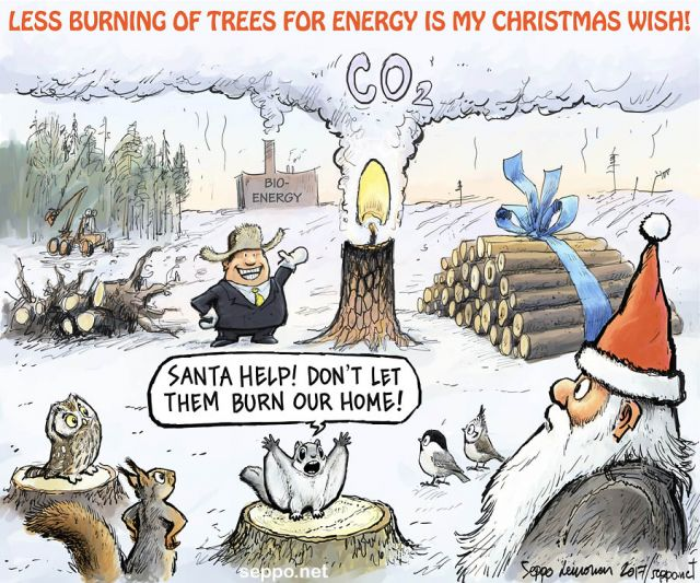 Seasons greetings cards environmental cartoons finnish versions of the seasons greetings cards here santa and bioenergy m4hsunfo