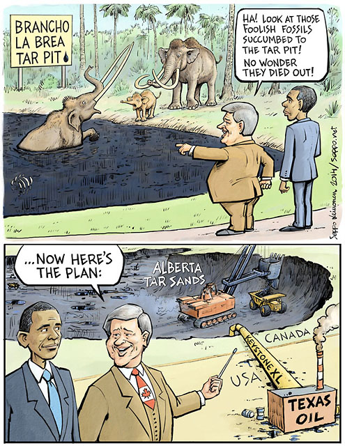 Tar pit fossils - Harper and Obama