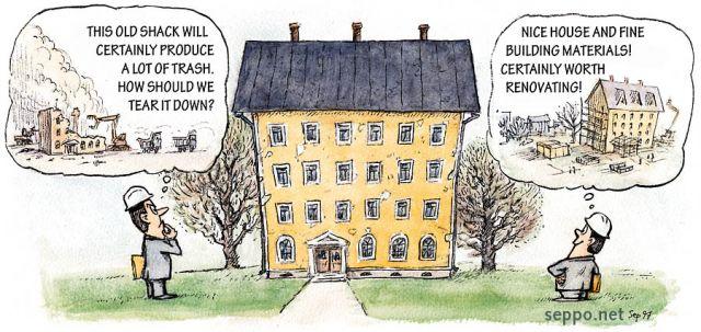 Building Demolition Cartoon : Eco efficiency demolition or renovation of old buildings