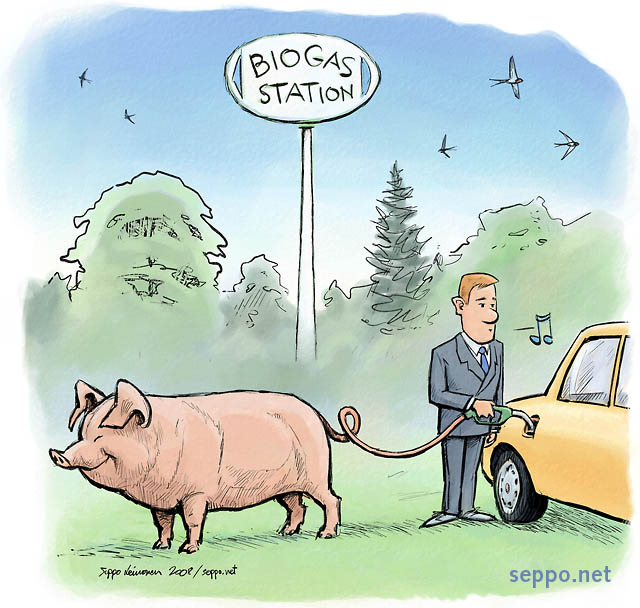 Energy Biogas For Cars Environmental Cartoons