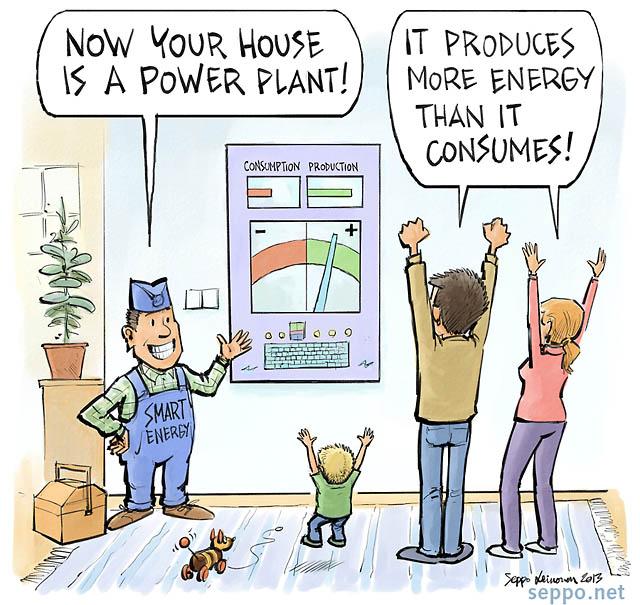 Power Meter Cartoon : Energy home as a power plant environmental cartoons