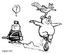 Traffic police and monocyclists