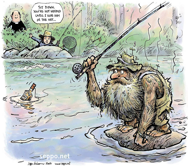 Fishing fly fisher run totally wild environmental cartoons for Weird fishing lures
