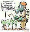 Rata de aqua y jardinero y pesticida