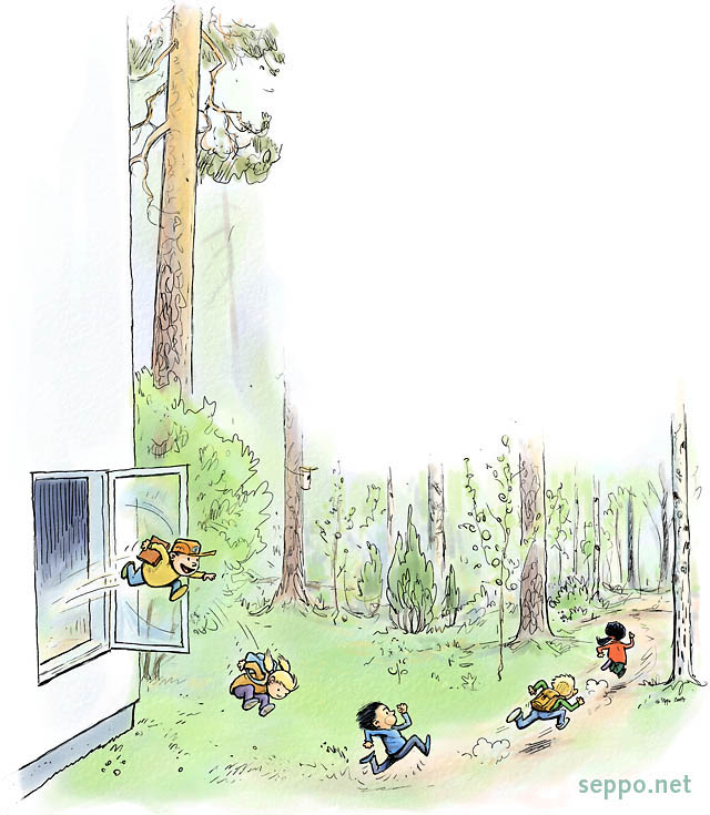 Nature school – kids jump outdoors to learn, keywords:<br />  kid kids nature school outing outdoors learning forest jump window cartoon