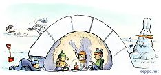 Kids in igloo