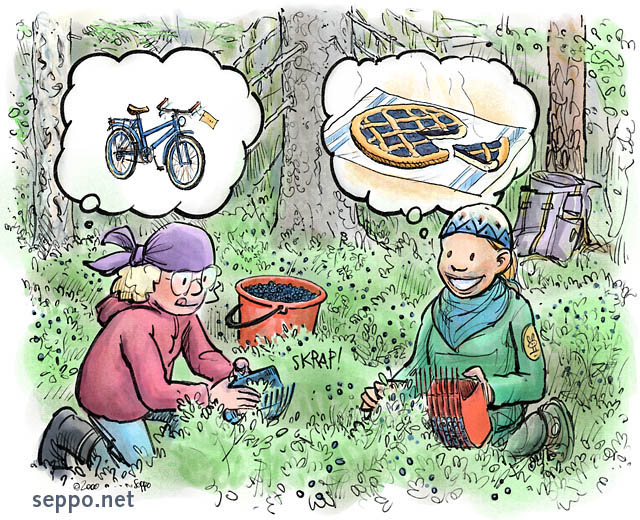 Outdoors - Blueberry pickers with goals - Environmental Cartoons