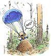 Parachutist landing on anthill