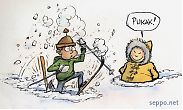 Skier and eskimo in snow