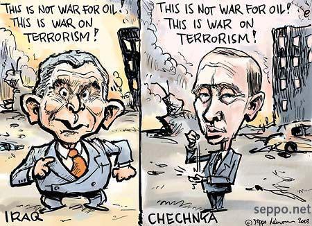 Bush Vladimir Putin war on terrorism oil iraq chechnya cartoonWar On Terrorism Cartoons
