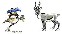 Reindeer and Siberian Tit