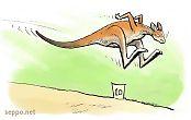 Kangaroo doing long jump