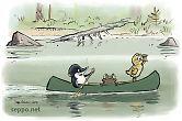 Eläimet melovat kanootilla