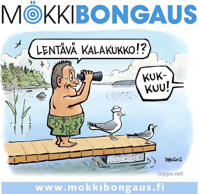 Birdlife - mökkibongaus, keywords: linnut kesä Birdlife mökkibongaus lintuharrastus lintu kalalokki västäräkki järvi kalakukko käki laituri bongari pilapiirros