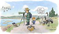 Lintuharrastajat seuraavat muuttoa kalliolla