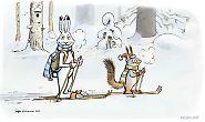 Jänis ja orava hiihtämässä