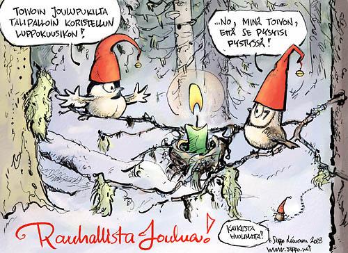 Joulukortti - Tinttien joulutervehdys vanhasta metsästä
