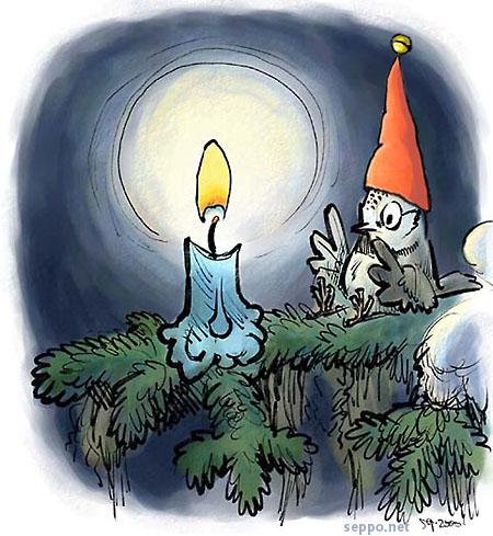 Joulukortti - kynttilä ja tintti