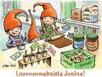 Joulukortti - lapset leipovat pipareita