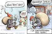 Joulukortti - Joulupukki ja jätesäkki