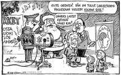 Joulukortti - Joulupukki ja kaupan este