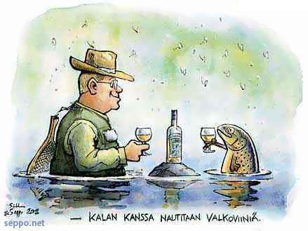 Kalan kanssa nautitaan valkoviiniä