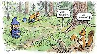 Mustikanpoimijat vanhassa metsässä