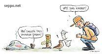 Retkeilijä ja eväsroska