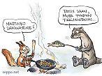 Saukko ja orava kokkaavat nuotiolla