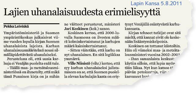 Ministeri Koskinen kummeksuu, mikä on Suomen lajien uhanalaisuudesta kertova Punainen kirja.